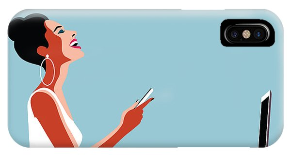 Happy iPhone Case - Happy Young Beautiful Woman Using by Ralwel