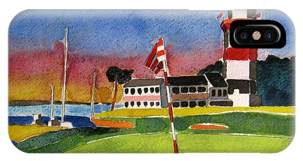 Lighthouse iPhone Case - Harbour Town 18th Sc by Lesley Giles