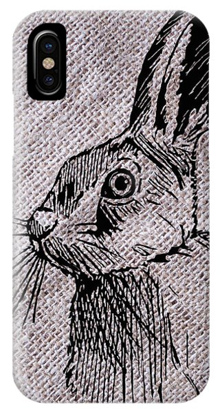 Hare On Burlap IPhone Case