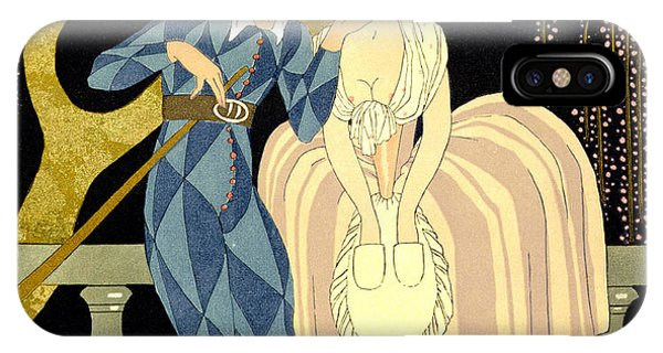 Couple iPhone Case - Harlequin's Kiss by Georges Barbier