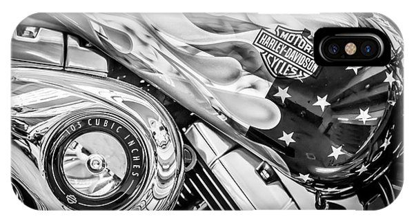 Harley Davidson Motorcycle Stars And Stripes Fuel Tank - Black And White IPhone Case