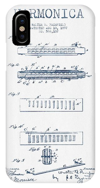 Harp iPhone Case - Harmonica Patent Drawing From 1897  - Blue Ink by Aged Pixel