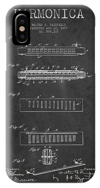 Harp iPhone Case - Harmonica Patent Drawing From 1897 - Dark by Aged Pixel