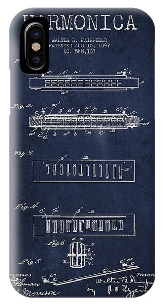 Harp iPhone Case - Harmonica Patent Drawing From 1897 - Navy Blue by Aged Pixel