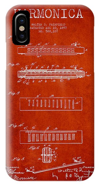 Harp iPhone Case - Harmonica Patent Drawing From 1897 - Red by Aged Pixel