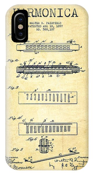 Harp iPhone Case - Harmonica Patent Drawing From 1897 - Vintage by Aged Pixel