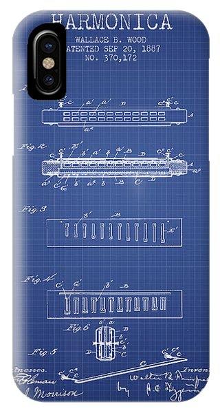 Harp iPhone Case - Harmonica Patent From 1897 - Blueprint by Aged Pixel