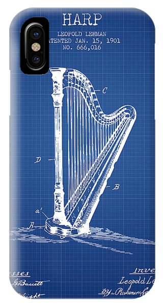 Harp iPhone Case - Harp Music Instrument Patent From 1901 - Blueprint by Aged Pixel