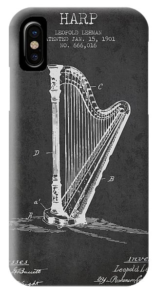 Harp iPhone Case - Harp Music Instrument Patent From 1901 - Charcoal by Aged Pixel