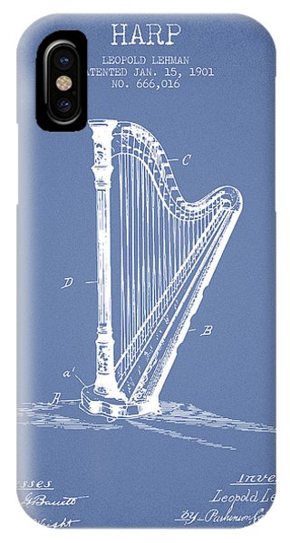 Harp iPhone Case - Harp Music Instrument Patent From 1901 - Light Blue by Aged Pixel