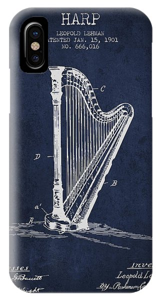 Harp iPhone Case - Harp Music Instrument Patent From 1901 - Navy Blue by Aged Pixel