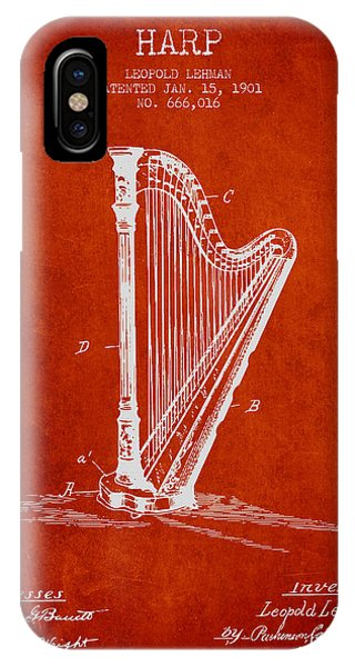 Harp iPhone Case - Harp Music Instrument Patent From 1901 - Red by Aged Pixel
