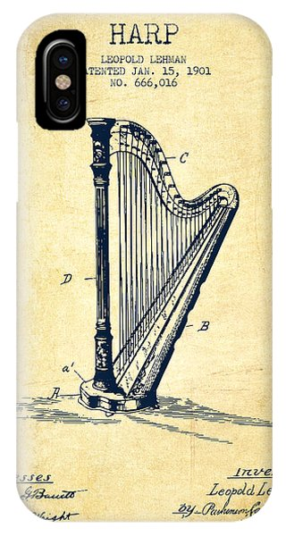 Harp iPhone Case - Harp Music Instrument Patent From 1901 - Vintage by Aged Pixel
