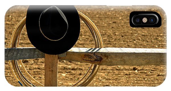 Farm Tool iPhone Case - Hat And Lasso On Fence by Olivier Le Queinec