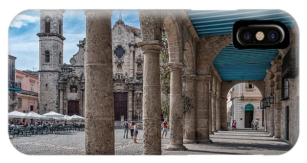 Havana Cathedral And Porches. Cuba IPhone Case