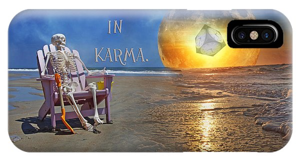 Moon iPhone Case - Have Faith In Karma by Betsy Knapp