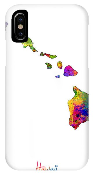 Oahu Hawaii iPhone Case - Hawaii Map by Michael Tompsett