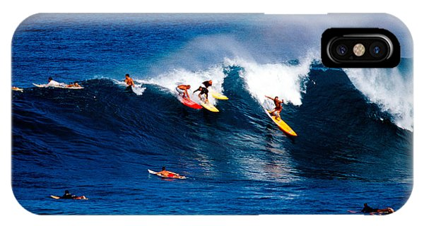 Surf iPhone Case - Hawaii Oahu Waimea Bay Surfers by Anonymous