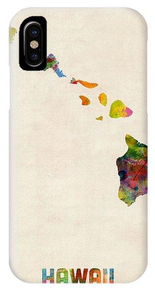 Oahu Hawaii iPhone Case - Hawaii Watercolor Map by Michael Tompsett