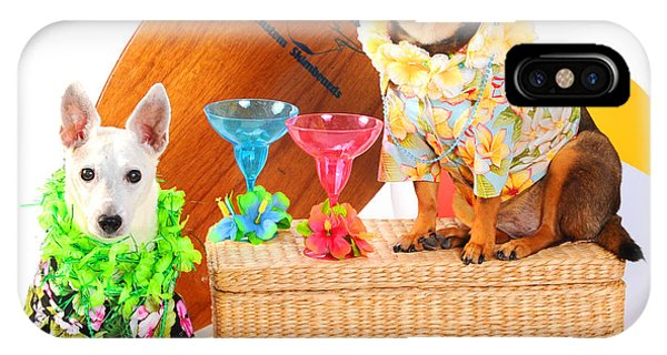 Tiki Bar iPhone Case - Hawaiian Party Surf Dogs by Rebecca Brittain