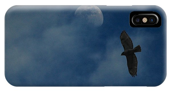 Hawk And Moon Coming Out Of The Mist IPhone Case