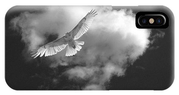 Hawk In Flight - Bw IPhone Case