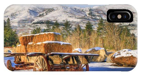 Wagon Wheel iPhone Case - Hay Wagon by Donna Kennedy