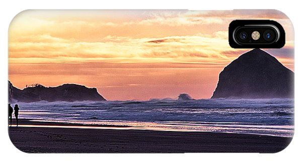 Haystack Rock Beach Walk Sunset IPhone Case