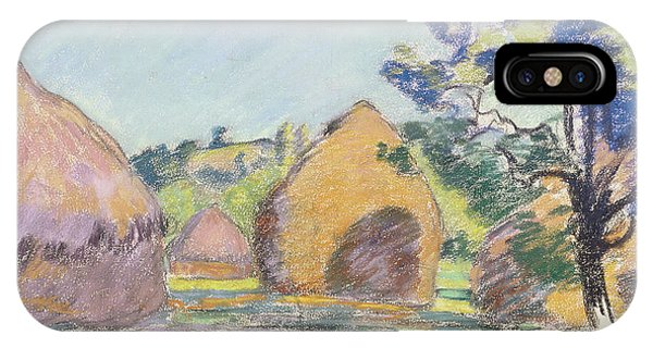 Impressionistic iPhone Case - Haystacks At Saint Cheron by Jean Baptiste Armand Guillaumin