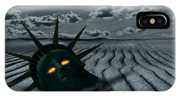 Statue Of Liberty iPhone Case - Head Of A Statue With A Broken Bridge by Panoramic Images