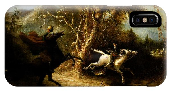Horseman iPhone Case - Headless Horseman Pursuing Ichabod Crane by Pg Reproductions