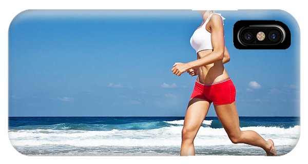 Healthy Woman Running On The Beach Phone Case by Anna Om