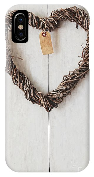 Heart Wreath Hanging On Wood Background IPhone Case