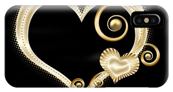 Hearts In Gold And Ivory On Black IPhone Case