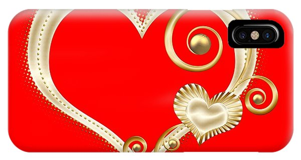Hearts In Gold And Ivory On Red IPhone Case