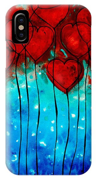 Hearts iPhone Case - Hearts On Fire - Romantic Art By Sharon Cummings by Sharon Cummings