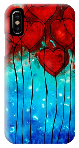 Aqua iPhone Case - Hearts On Fire - Romantic Art By Sharon Cummings by Sharon Cummings