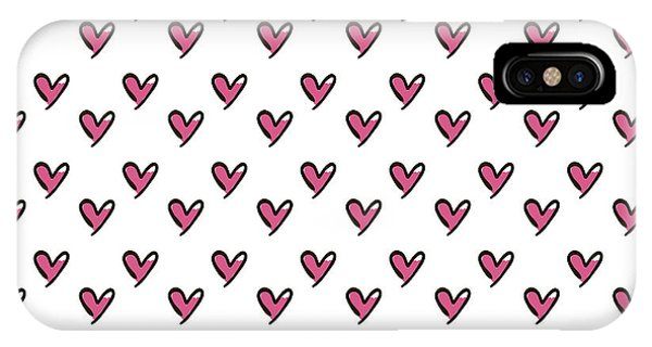 Paper iPhone Case - Hearts Seamless Pattern. Cute Doodle by Bubushonok