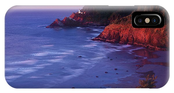 IPhone Case featuring the photograph Heceta Head Lighthouse At Sunset Oregon Coast by Dave Welling
