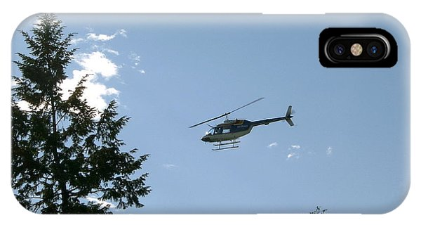 Helicopter Misses Tree Phone Case by Mavis Reid Nugent