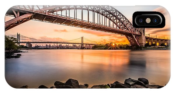 Hell Gate And Triboro Bridge At Sunset IPhone Case