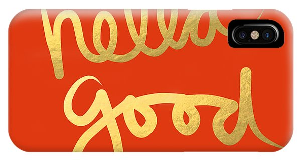 Cute iPhone Case - Hella Good In Orange And Gold by Linda Woods