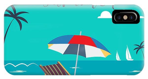Beach Chair iPhone Case - Hello Summer Poster. Tropical Beach by Ivector