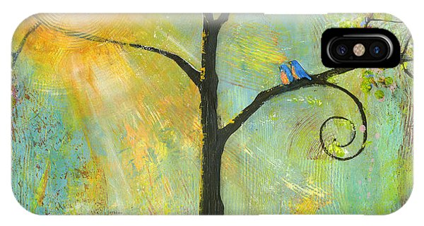 Sunny iPhone Case - Hello Sunshine Tree Birds Sun Art Print by Blenda Tyvoll
