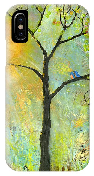 Animal iPhone Case - Hello Sunshine Tree Birds Sun Art Print by Blenda Studio