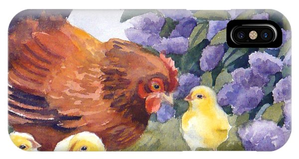 Hen And Chicks Among The Lilacs IPhone Case