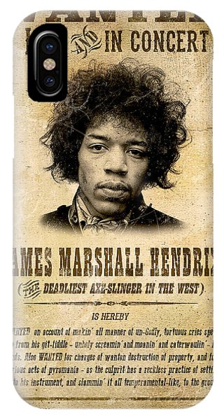 Guitar Legends iPhone Case - Hendrix Wanted Poster by Gary Bodnar