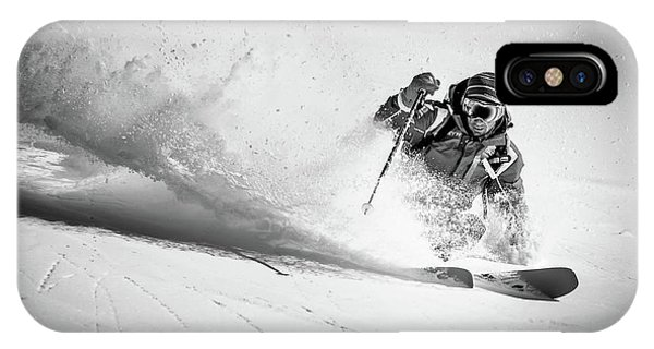 Explosion iPhone X Case - Henri Making A Powder Turn... by Eric Verbiest