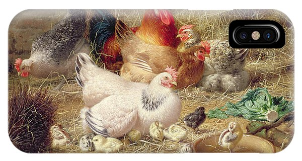 Barnyard iPhone Case - Hens Roosting With Their Chickens by Eugene Remy Maes