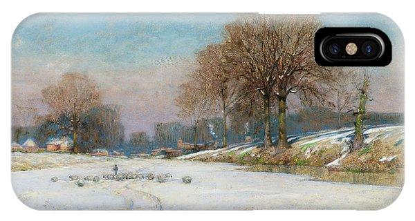 Herding Sheep In Wintertime IPhone Case